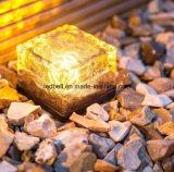Lámpara cristalina del jardín del LED del ladrillo de hielo del cubo de la luz solar del camino