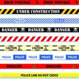 プラスチック警告テープ赤くおよび白いストリップ