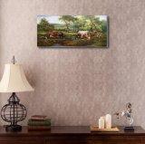 森の牛の油絵