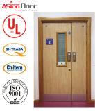Porte coupe-feu en bois de porte d'entrée pour la nomenclature Trada et norme de porte en bois d'appartement et de villa 100% de porte certifiée par UL d'épreuve d'incendie
