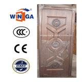 Porte en acier de fer de garantie de Brown de tailles importantes en bois de couleur (W-SZ-02)