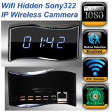 HD WiFi Clock Camera Hidden Sony322 Full 1080P Night Vision Video RecoderおよびMonitor Via ISO Android APP