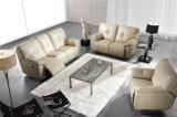 Muebles amarillentos de los sofás del Recliner del cuero del color