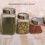 frasco de vidro do armazenamento do alimento 3PCS com o recipiente da tampa/alimento/o frasco doces do mel