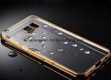 Cas ultra-mince en gros de téléphone cellulaire de la Chine TPU avec le bord de galvanoplastie d'or pour le cas de couverture d'accessoires de téléphone mobile de bord de la galaxie S7 de Samsung