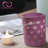 Suporte de vela de vidro Electroplated Pinky agradável do copo da vela com corações