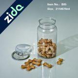 Tarro del caramelo de PET transparente de plástico con tapón de tuerca al por mayor