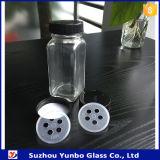 43mmのスパイスのふたが付いている4つのOzの正方形のコショウのガラス瓶