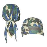 顧客用ロゴは軍隊の緑のカムフラージュの綿ヘッド覆いの調節可能な循環のSkulllのバンダナの帽子を印刷した