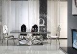 Tabela de jantar do projeto moderno com parte superior de vidro preta Tempered