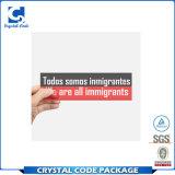 Etiqueta autoadhesiva de parachoques impermeable adhesiva de la insignia de encargo