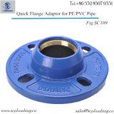 O En Fonte de Rapide Verouillee da noiva Ductile derrama o adaptador rápido da flange de Tuyaux PVC/Pehd