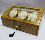 Dobadoura automática de madeira do relógio da laca elevada do lustro 6+7