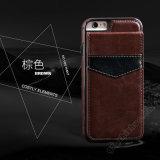 Кожаный случай телефона бумажника с владельца карточки на iPhone 6