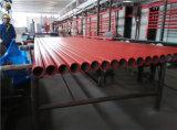 Tubulação pintada vermelha do sistema de extinção de incêndios do incêndio do UL FM
