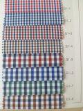 Il cotone di riserva pronto del poliestere controlla il fabbricato della camicia tinto filato