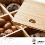 Hongdao Csutomふたの_Eのない木サービス食糧皿の自然な木箱