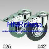 Grauer Gummistahlnaben-Schwenker mit doppelter Bremsen-Fußrolle