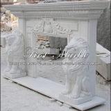 Cheminée blanche Mfp-231 de Carrare de cheminée en pierre de marbre de granit
