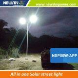 Iluminação Integrated do jardim do diodo emissor de luz da potência solar de lâmpada de rua de Newskypower MPPT Bluetooth