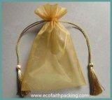 Saco azul da jóia do presente de Organza com impressão da flor