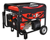 Fusinda 7kw 손잡이와 비 편평한 바퀴를 가진 전기 휴대용 휘발유 발전기 세트