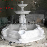 Fonte de água de pedra branca da escultura de Carrara (SY-F007)