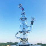 tubulação de água de vidro de fumo dobrada cor de Hbking da cor-de-rosa do reciclador 17inch
