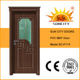 Puerta de lujo del MDF del PVC de la puerta del PVC con la corona de la puerta (SC-P174)