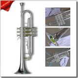 Trompette de Bb plaquée par argent professionnel, instrument de musique