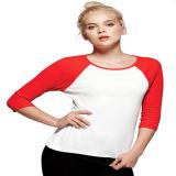 T-shirt de douille de Raglan des femmes faits sur commande ordinaires