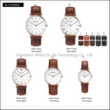 Relógio de pulso do estilo da cinta de couro D de Observação Par da promoção da senhora Homem simples