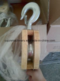 Тип блок JIS одиночного Sheave деревянный с крюком