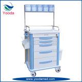 Carretilla plástica de la anestesia del hospital y del equipamiento médico