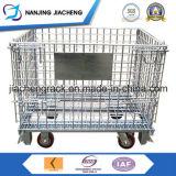 El empilar y cesta plegable del metal del almacenaje con las ruedas