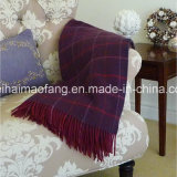 編まれたCheck 100%Virgin Wool Throw Blanket