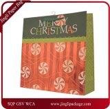 Saco de papel da folha com cores do Natal & projetos, projeto especial para o saco de papel do presente do Natal, saco de papel de arte, saco de papel