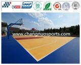 O Spu ostenta o revestimento da corte para o assoalho do basquetebol com teste padrão de madeira bonito da textura