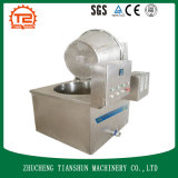 Máquina pequena do alimento do petisco, cebola que frita a máquina e a frigideira
