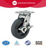 6 Zoll-Platte Hightech- Performa Fußrolle mit seitlicher Bremse