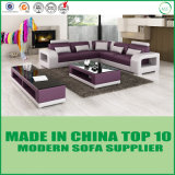 Sofa en bois de divan moderne faisant le coin en cuir