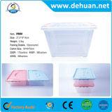 Rectángulo de almacenaje grande plástico claro del estaño con la maneta para el hogar
