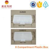 Caixa de plástico transparente de compartimento de 8 compartimentos
