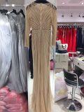 Vestido de noite do ouro de Rosa, vestido do baile de finalistas, vestido de partido, vestido de casamento longo da luva