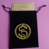 Couvre-tapis carré de cuvette de café de boissons de caboteur de cuvette d'or en métal de forme dans une poche de velours