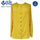 La camicetta allentata delle signore di modo del tasto giallo del Lungo-Manicotto con copre dentro indietro