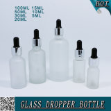 Бутылка капельницы сыворотки матированного стекла косметическая с крышкой и пипеткой доказательства ребенка