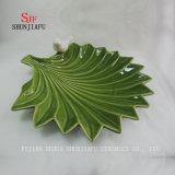 녹색 잎 식기류 격판덮개를 담그는 세라믹 Hq 접시 소스