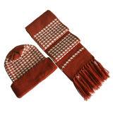 Cappello e sciarpa di lavoro a maglia di inverno con le nappe (JRK108)