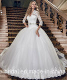 Lange Hülsen-Brautballkleid-Spitze-Tulle-Hochzeits-Kleid Dh20178